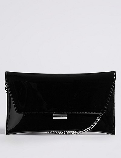 96b815ddace Faux Leather Fold Over Clutch Bag   Marks   Spencer London