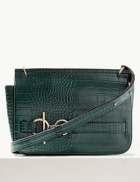 Faux Leather Ring Detail Cross Body Bag
