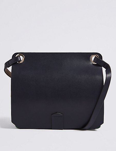 Faux Leather Two Part Cross Body Bag