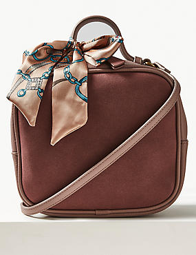 Faux Leather Cross Body Bag with Scarf