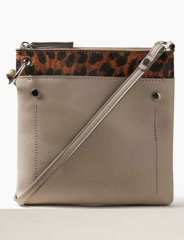 d0a09ebf21 Faux Leather Front Pocket Cross Body Bag