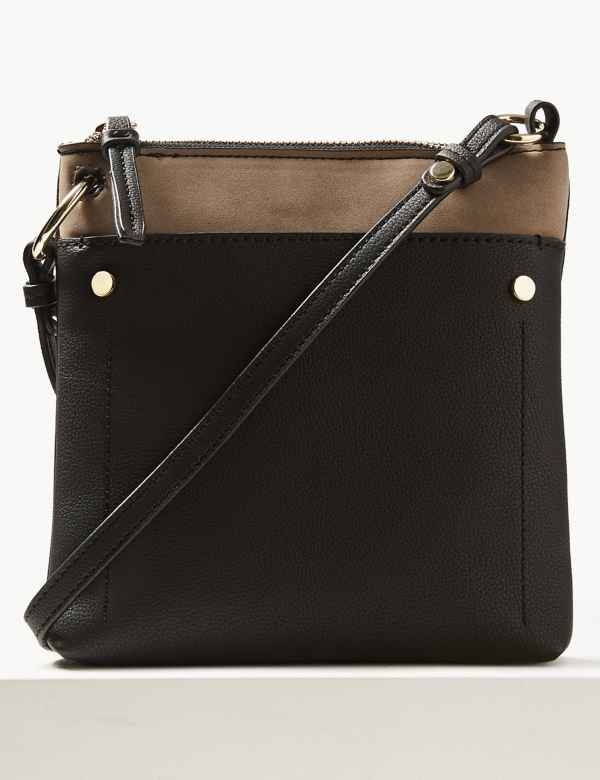 Faux Leather Front Pocket Cross Body Bag 3319343700