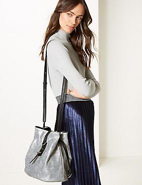 Faux Leather Bucket Cross Body Bag