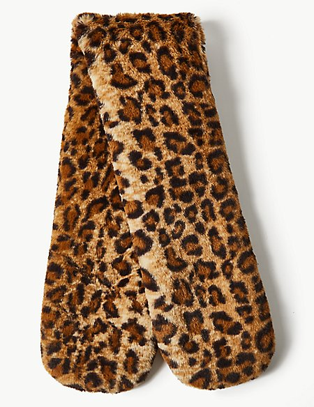 Faux Fur Animal Print Scarf