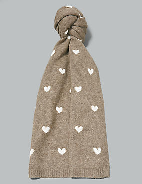 Pure Cashmere Heart Print Scarf