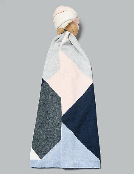 Pure Cashmere Colour Block Scarf