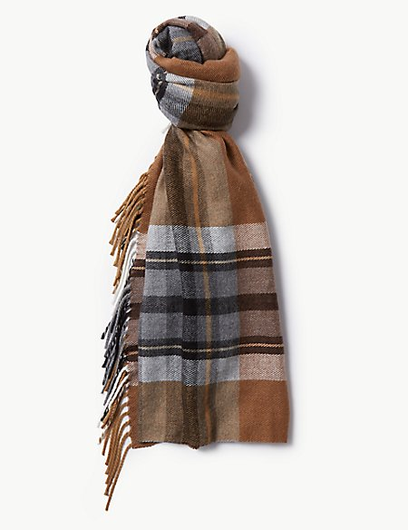 Neutral Tassel Checked Scarf