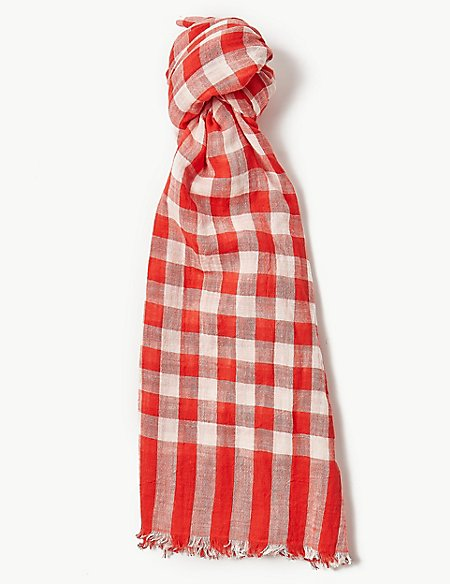 Pure Cotton Gingham Checked Scarf