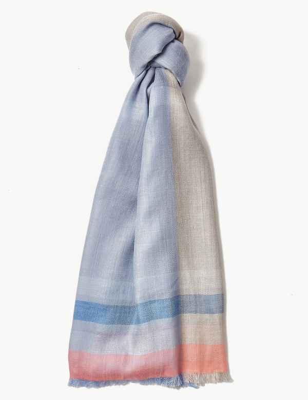 dba4fca8e77bb Striped Scarf with Wool