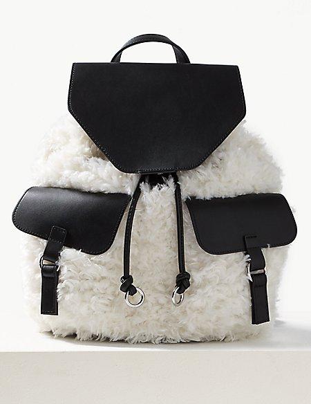 Faux Fur Backpack Bag