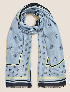Bee Print Scarf with Modal