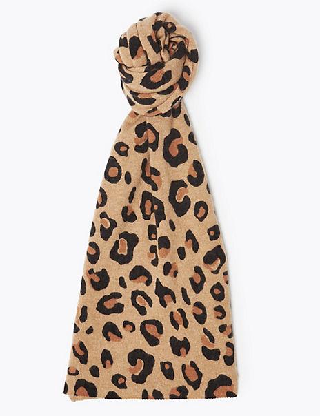 Pure Cashmere Leopard Print Scarf
