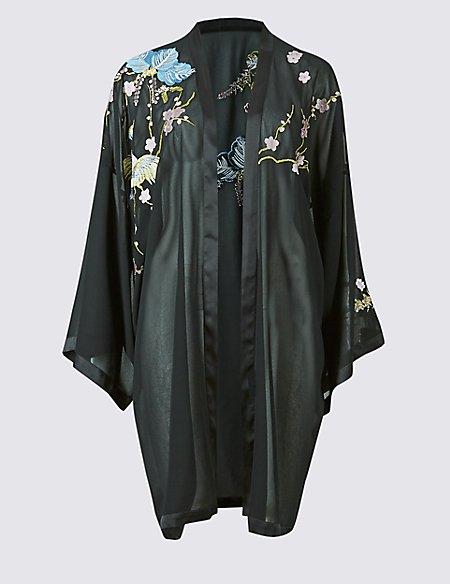 Sleeved & Embroidered Kimono