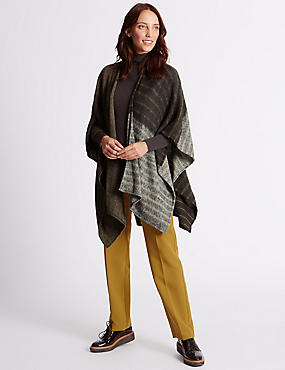 Knitted Patchwork Wrap, BROWN MIX, catlanding