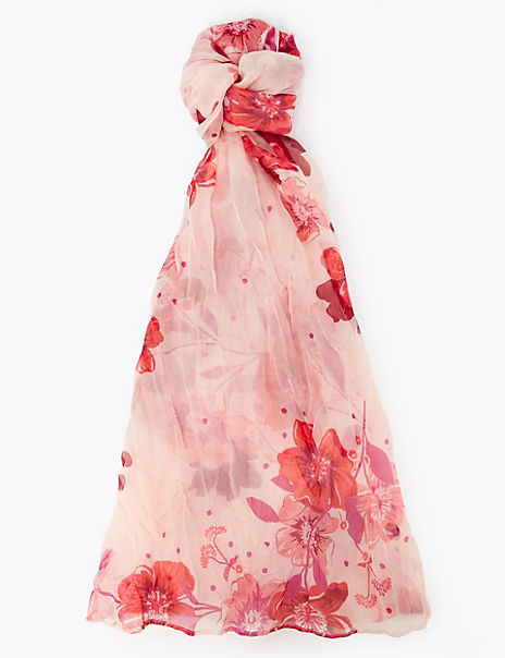 Pure Silk Floral Scarf