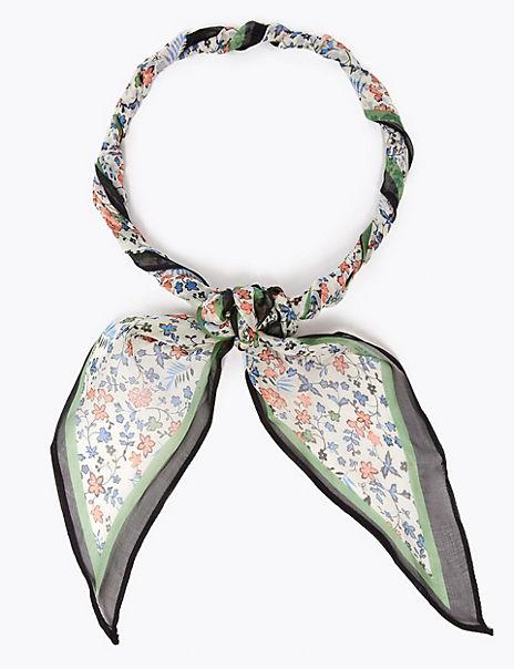 Pure Silk Skinny Floral Scarf