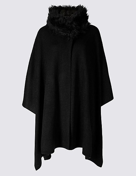 Fur Collar Knitted Wrap