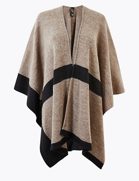Knitted Colour Block Wrap