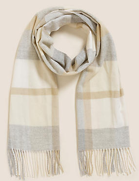 Woven Checked Tassel Scarf