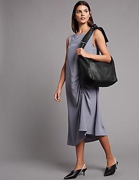 Leather Knot Handle Messenger Bag