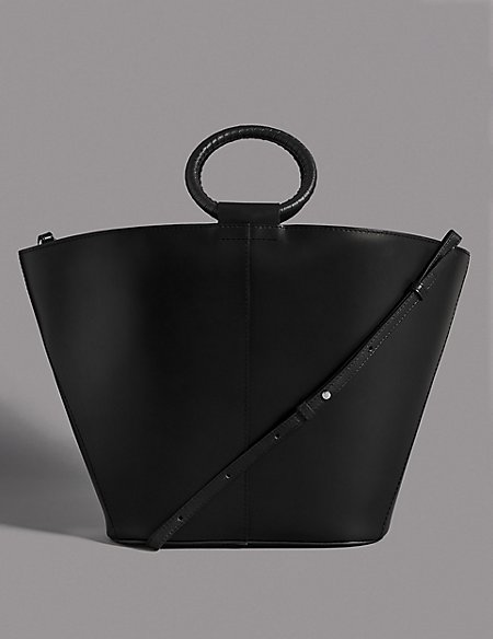 Leather Round Handle Tote Bag