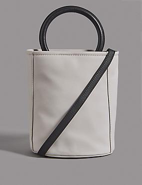 Leather Bucket Cross Body Bag