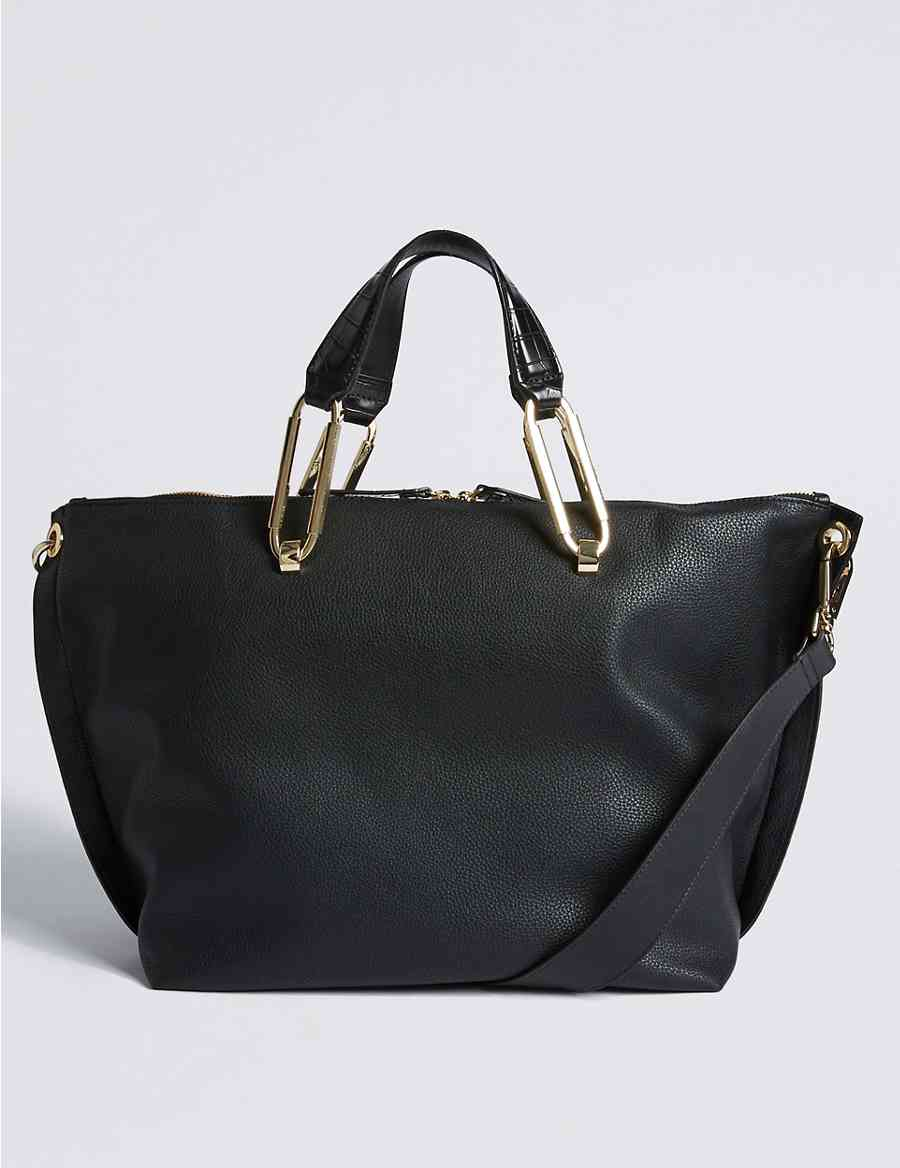 01328e9227 Faux Leather Oval Ring Slouchy Tote Bag