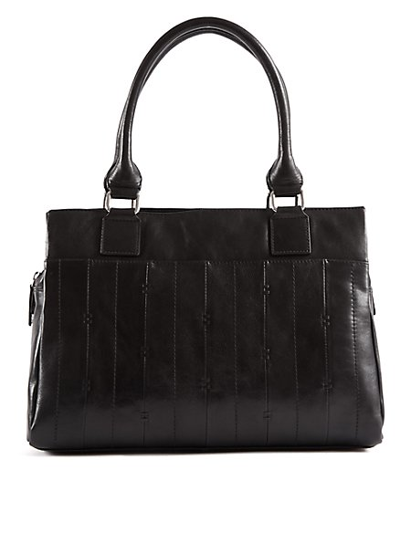 Leather Double Stitch Tote Bag