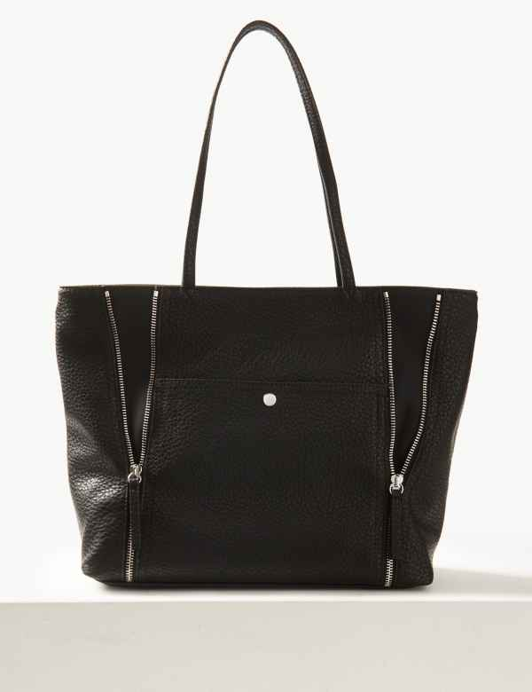8f8b76a523b2 Faux Leather Shopper Bag