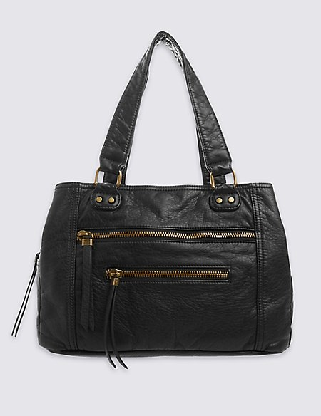 Zipped Three Section Tote Bag