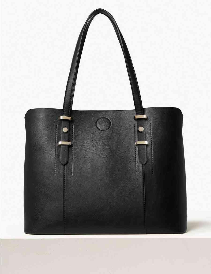 4b72816fa56a Faux Leather Soft Stud Tote Bag