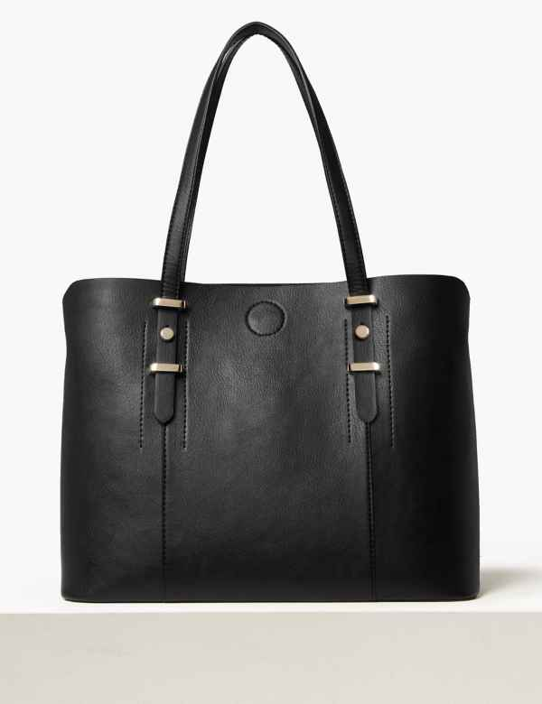 37234f734bdc Faux Leather Soft Stud Tote Bag