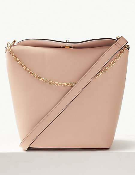 Faux Leather Chain Detail Cross Body Bag