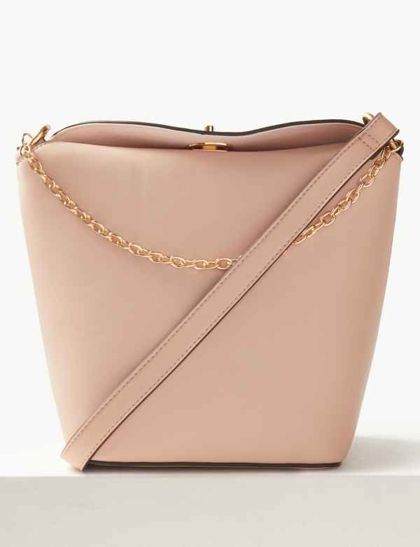 9127569de5 Faux Leather Chain Detail Cross Body Bag