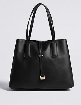 Faux Leather Metal Bar Detail Tote Bag