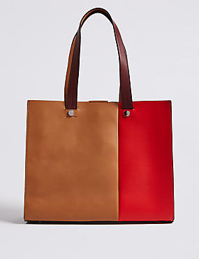 Faux Leather Laptop Tote Bag
