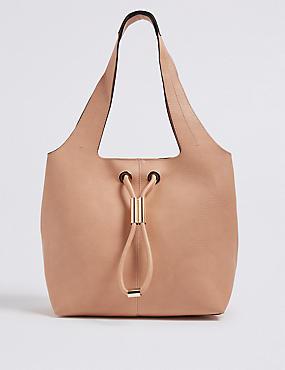 Faux Leather Toggle Shoulder Bag