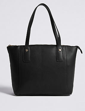 Faux Leather Zipped Tote Bag