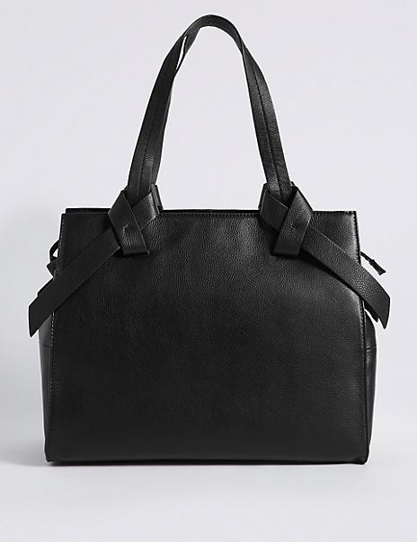 Leather Knot Detail Tote Bag
