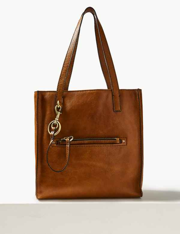 7d9ff437eb0 Leather 3 Compartment Tote Bag