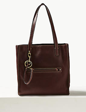 Leather 3 Compartment Tote Bag