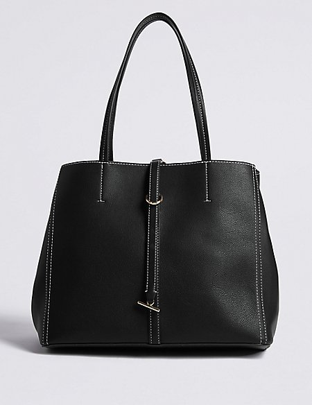 Faux Leather Stitch Detail Tote Bag