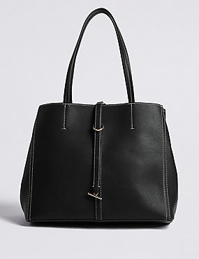 Faux Leather Sch Detail Tote Bag