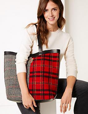 Checked Shopper Bag