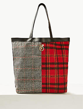 Checked Shopper Bag