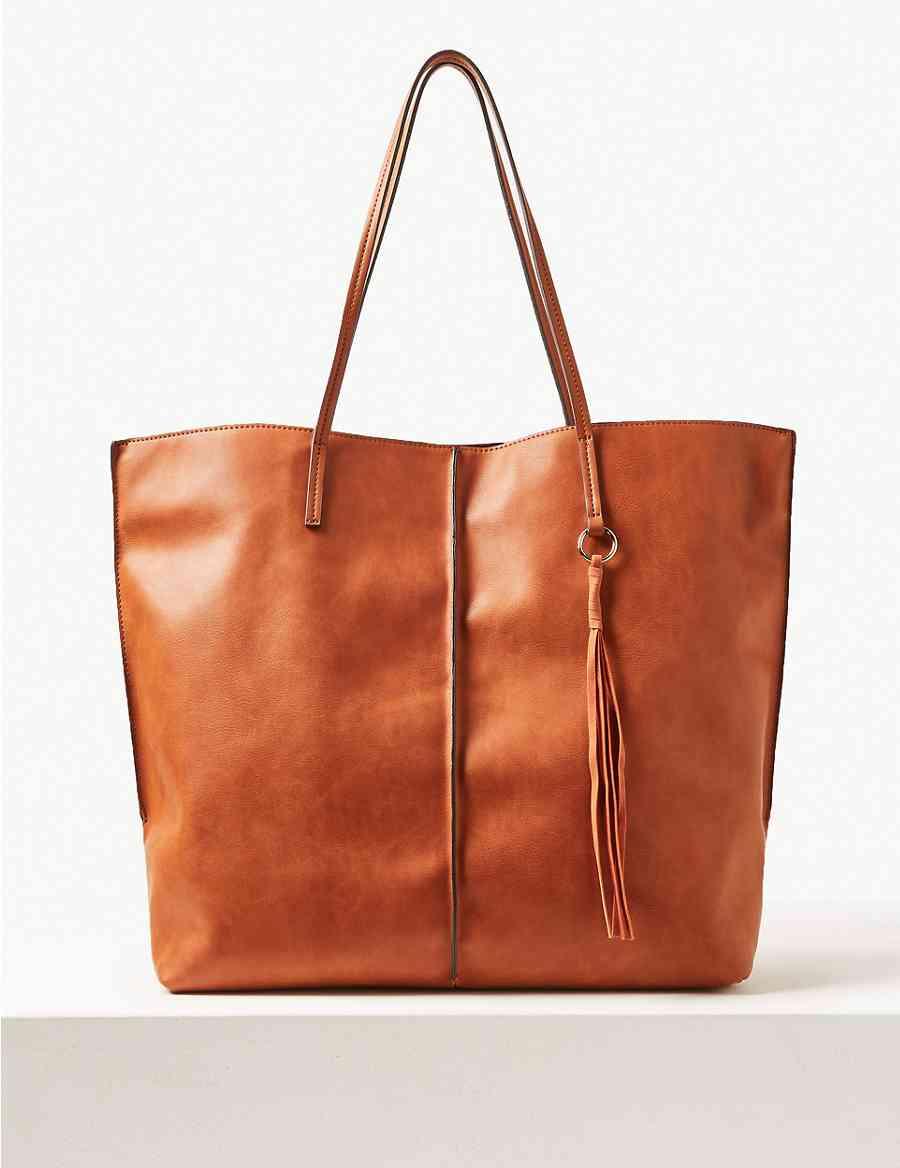 9f194d7932 Faux Leather Shopper Bag