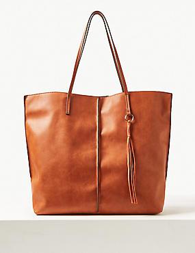 Faux Leather Shopper Bag