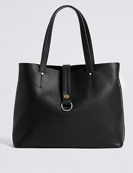 Faux Leather Ring Detail Tote Bag