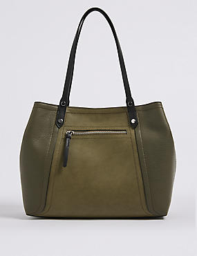 Faux Leather Colour Block Tote Bag
