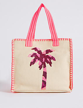Cotton Rich Palm Tree Embellished Tote Bag